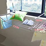 Stainless steel clothes drying rack,Window Balcony Fence blanket drying rack shoe rack windowsill cool clothes rack retractable folding drying racks-A