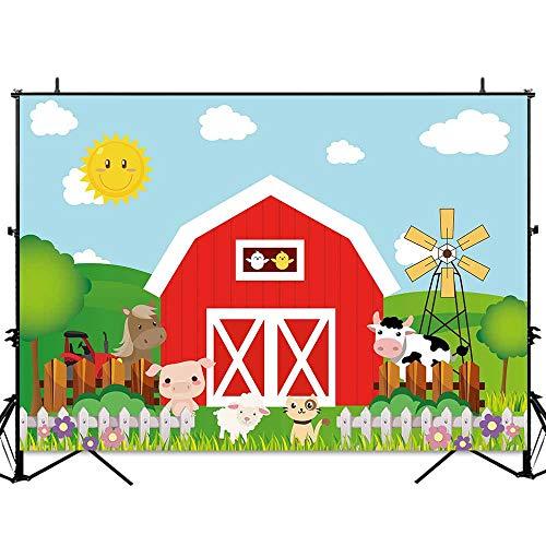 (Allenjoy 7x5ft Cartoon Farm Animals Photography Backdrops Red Barn Barnyard House Kids Birthday Party Banner Little Farmer Photo Background Photobooth)