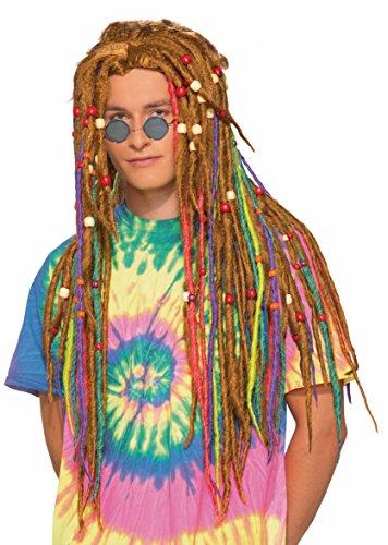 Forum Men's Generation Hippie Rainbow Dreads Wig, Multi, One Size]()