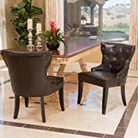 Zatgan Brown Leather Tufted Dining Chair (Set of 2)