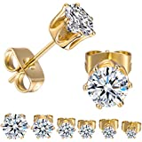 GEMSME 18K Yellow Gold Plated Round Cubic...
