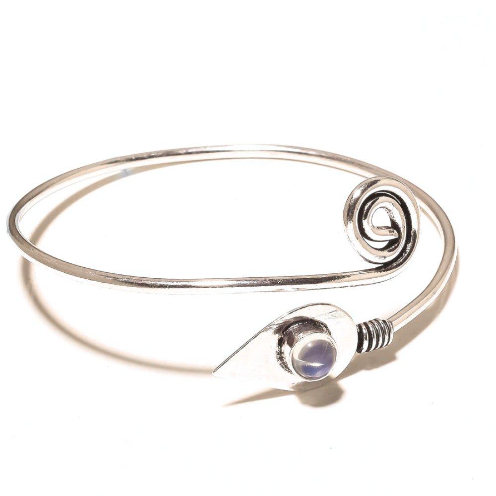 White Opalite Sterling Silver Overlay Bangle//Bracelet Free Size Handmade Teens Wear