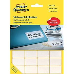 Avery 3319 - Etiqueta autoadhesiva (Blanco, Rectángulo Redondeado, 29 x 18 mm, Papel, 960 Pieza(s), 32 Pieza(s))