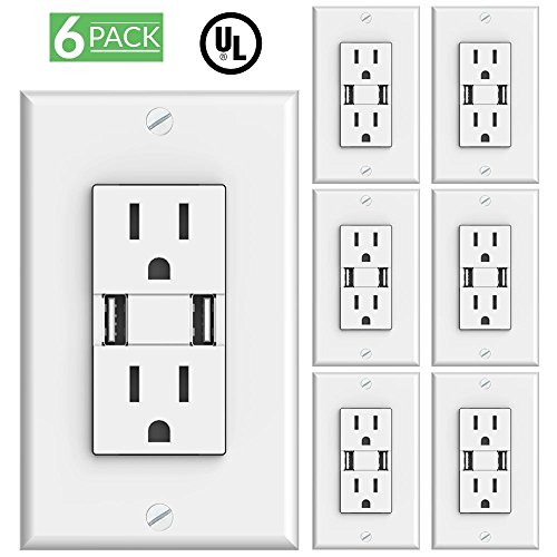Price comparison product image Sunco Lighting 6 Pack 3.1-Amp High Speed Dual USB Charger / 15-Amp Duplex Outlet (White) 5 Volt DC, Wall Plate Included, 2 Charge Ports, Tamper Resistant, Tablet Phone Charging Receptacle - UL Listed