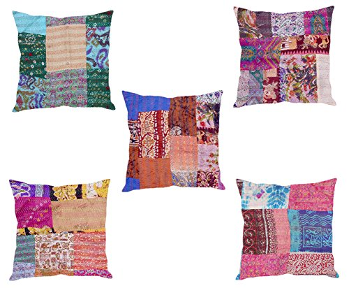 Indistar Set of 5 Throw Pillow Cover | Silk Patchwork Cushion Covers with Traditional Indian Kantha Work | Decorative Cushion Covers, 18 x 18 Inch