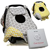 Sho Cute - [Reversible] Carseat Canopy | All Season Baby Car Seat Cover Boy or Girl | 100% Cotton | Unisex Grey Honeycomb & Yellow Chevron | Nursing Cover | Universal Fit | Baby Gift -Patent Pending