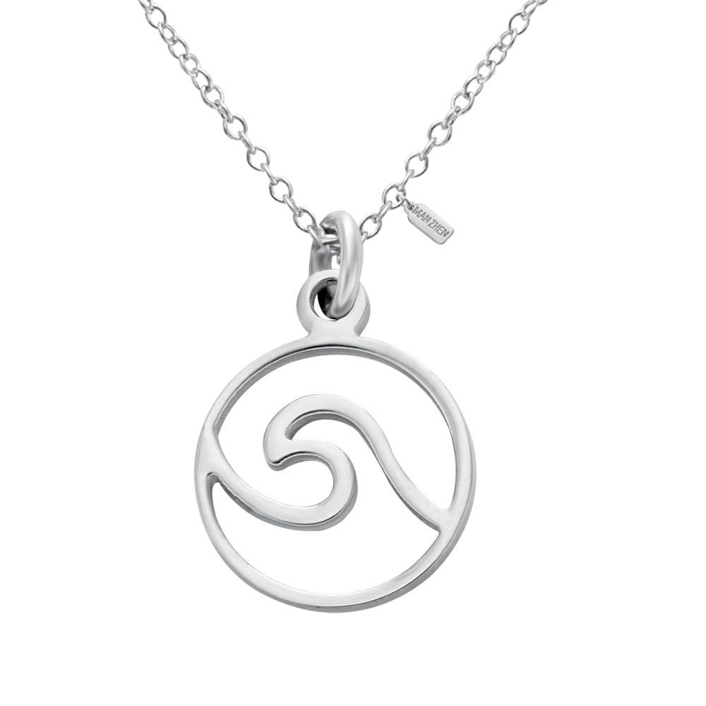 MANZHEN Delicate Sea Wave Wrap Round Spindrift Petite Pendant Necklace Stainless Steel(Small)