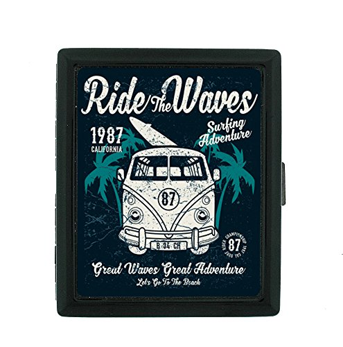 Sooku Design Small Metal 85's Cigarette Case Box with Cool Design Ride The Waves for Women & Men.