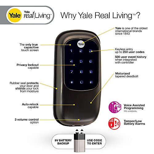 Yale Real Living Key Free Touchscreen Deadbolt In Oil