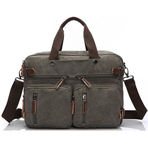 Laptop Backpack,Hybrid Multifunction Briefcase Messenger Bag with Shoulder Strap Canvas Bookbag for Men,Women,College Students (15.6 inch, Gray) ()