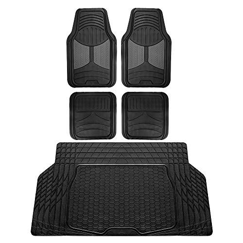 FH Group F11313 Monster Eye Full Set Rubber Floor Mats, Gray/Black Color w. F16403 Trimmable Vinyl Trunk Liner/Cargo Mat Black- Fit Most Car, Truck, SUV, or Van