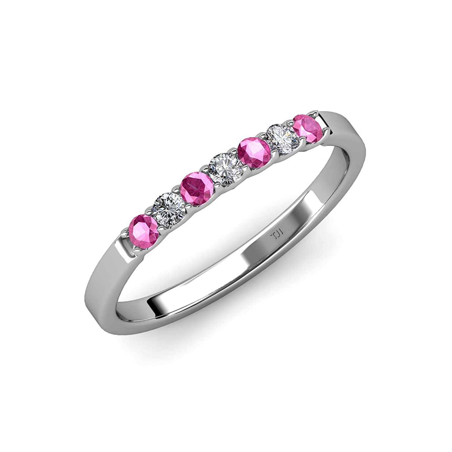 Pink Sapphire and Diamond (SI2-I1, G-H) 7 Stone Wedding Band 0.20 ct tw in 14K White Gold