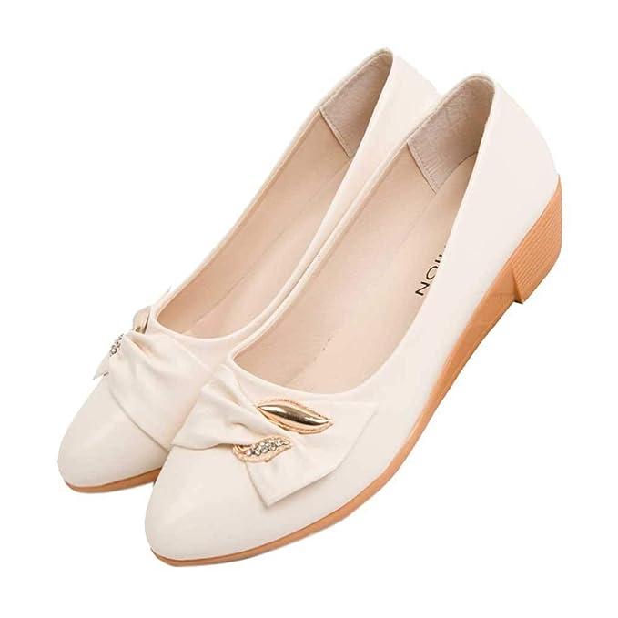 6851bb347a52 Amazon.com: Classic Slip On Toe Flats Shoes, Women's Low Wedge Heel ...