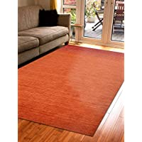 Rugsotic Carpets Hand Knotted Gabbeh Wool 8 x 10 Area Rug Contemporary Rust L00909