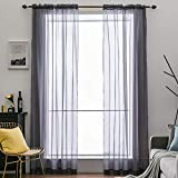 dark grey curtains 90 x 90 MIULEE 2 Panels Solid Color Sheer Window Curtains Elegant Window Voile Panels/Drapes/Treatment for Bedroom Living Room (54X90 Inches Dark Grey)