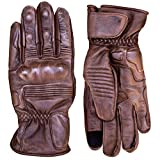 Premium Leather Motorcycle Gloves (Brown) Cool, Comfortable Riding Protection, Full Gauntlet with Mobile Touchscreen Fingers (X-Large)