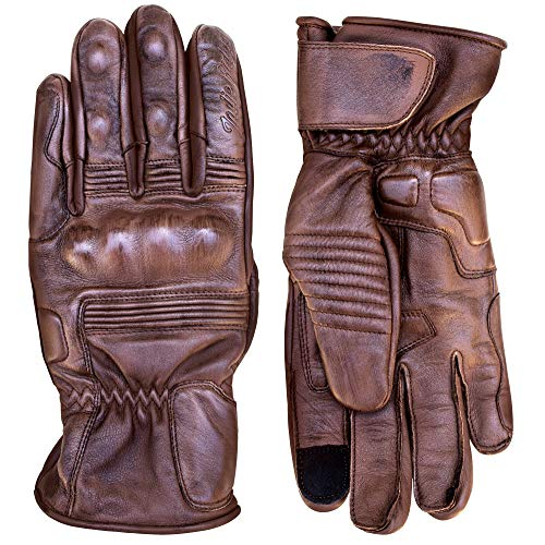 Premium Leather Motorcycle Gloves (Brown) Cool, Comfortable Riding Protection, Full Gauntlet with Mobile Touchscreen Fingers (Small)