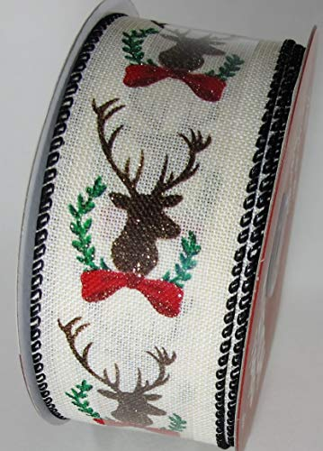 """Reindeer Linen Wired Edge Ribbon Accented with glitter 1.5"""" in x 30"""