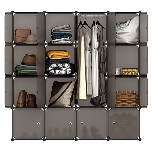 LANGRIA 16 Cube Organizer Stackable Plastic Cube Storage Shelves Design Multifunctional Modular Closet Cabinet with Hanging Rod for Clothes Shoes Toys Bedroom Living Room (Transparent Brown)