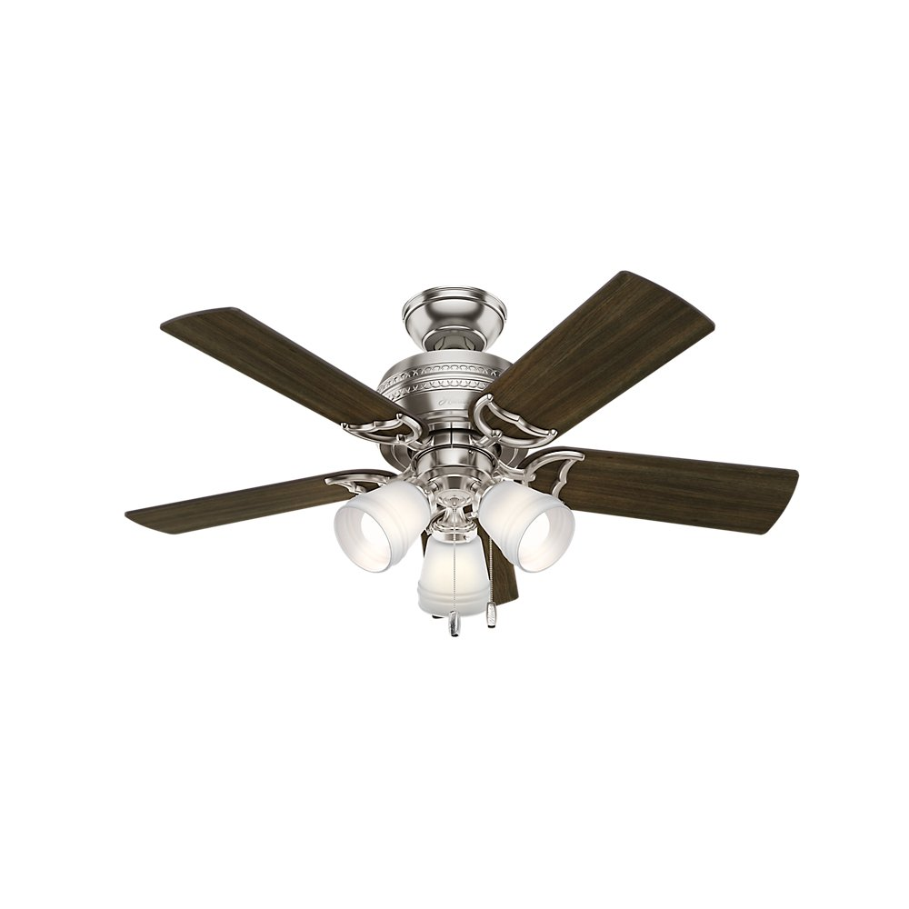 Hunter 51106 Prim Hunter 42'' Ceiling Fan with Light, Small, Brushed Nickel