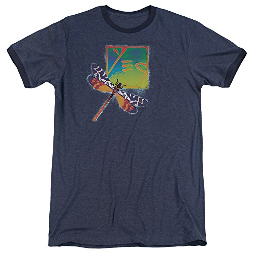 (Yes - Dragonfly Adult Ringer T- Shirt XL)