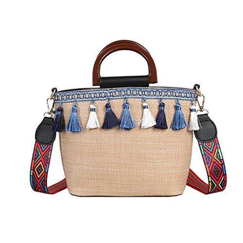 (Lefthigh Vintage Tassel Beach Messenger Bag Women Outdoor Straw Bag Ethnic Style Ribbon)