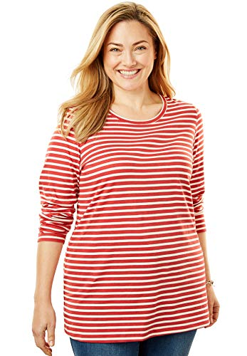 Woman Within Women's Plus Size Perfect Printed Crewneck Long Sleeve Tee - Fresh Red Stripe, 1X