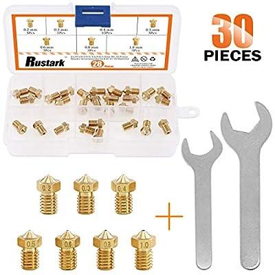 Rustrak 30pcs 3D Printer Nozzle kit Brass J-Head Extruder Print Heads 0.2mm 0.3mm 0.4mm 0.5mm 0.6mm 0.8mm 1mm Tools with 2 Pack Spanner for E3D V5 V6 Nozzles Replacement Removal