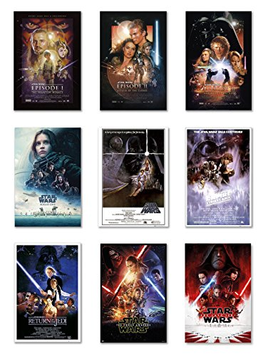 Star Wars: Episode I, II, III, IV, V, VI, VII, VIII & Rogue One - Movie Poster Set (9 Individual Full Size Movie Posters) (Size: 24