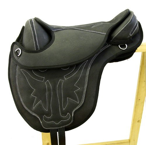 Treeless Riding Saddle Trishul Made of Nubuck Leather Black, with Velcro Cushion