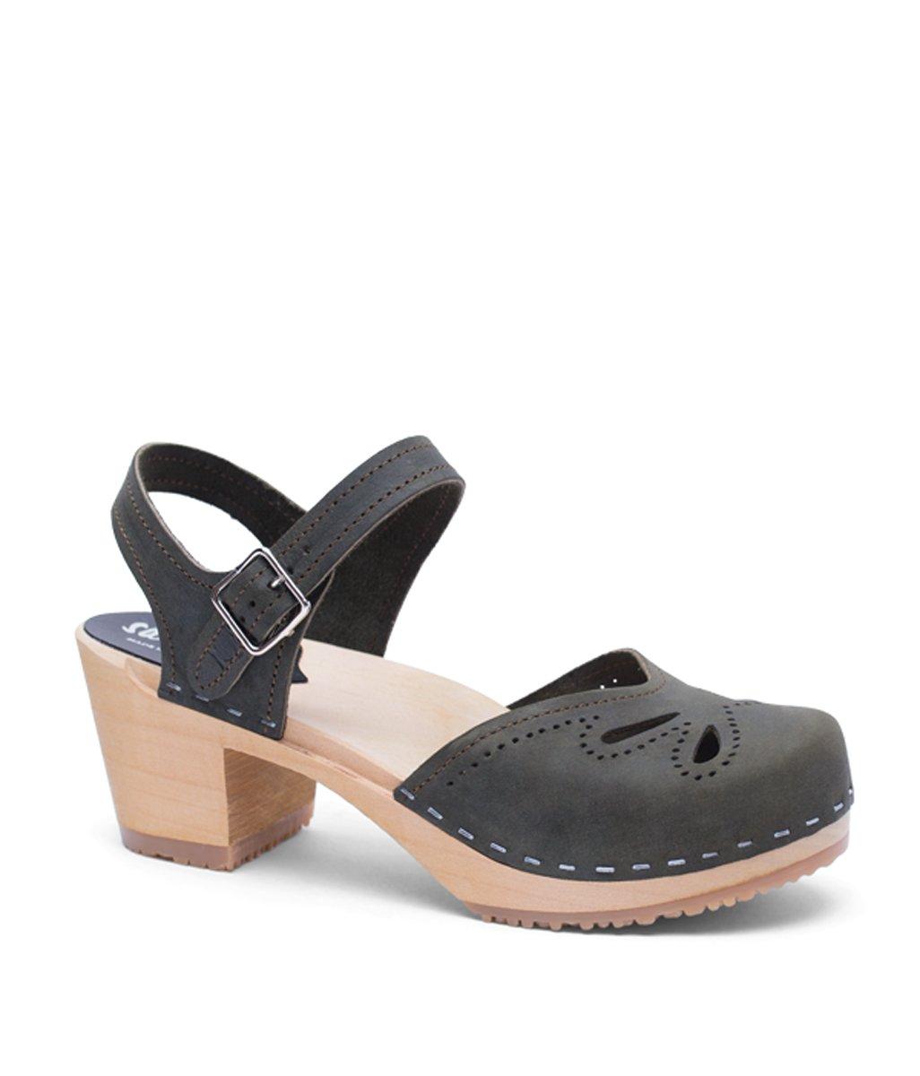 Swedish High Heel Wood Clog Sandals for Women | Copenhagen in Olive by Sandgrens, size US 7 EU 37