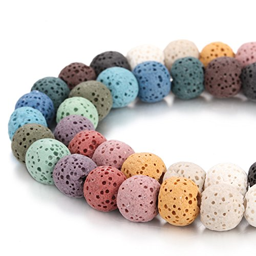 BORUO Natural 6mm Mix Color Lava Rock Stone Semi Precious Gemstone Round Loose Beads Energy Stone Healing Power for Jewelry Making (Approxi 63pcs per strand)