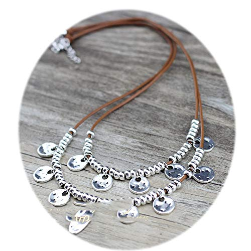 Luccaful Fashion Jewelry Round Charms Accessory Collar Necklace for Lady Female Chokers lt Coffee OneSize