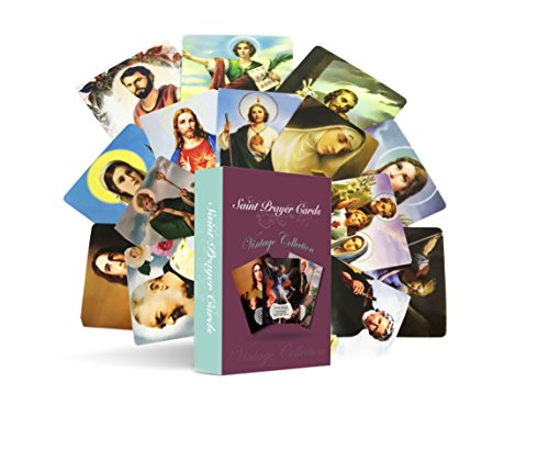 Prayer Laminated Holy Card (54 Assorted Catholic Saint Prayer Holy Cards: 2 sets of 27 different Patron Saints with patronage and a prayer on the back)