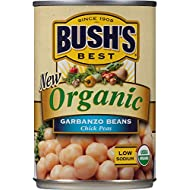 BUSH'S BEST Organic Garbanzo Beans, 15 Ounce Can (Pack of 12), Canned Beans, Organic Chick Peas, USDA Certified Organic, Source of Plant Based Protein and Fiber, Low Fat, Gluten Free