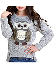 Cartoon Owl Long Sleeve T-Shirt Tee Tops for Teen Kids Girls Pullover Soft Clothes 6-14 Years Old