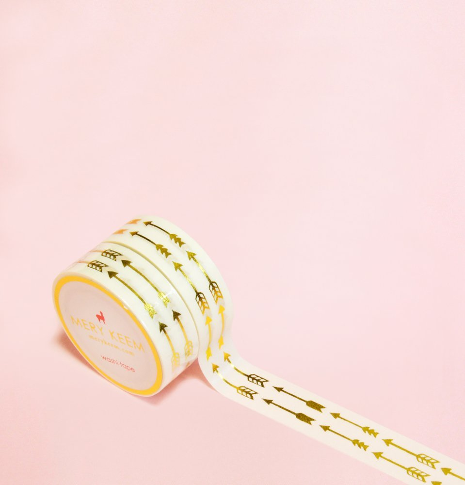 Arrows Gold Foil Washi Tape for Planning • Scrapbooking • Arts Crafts • Office • Party Supplies • Gift Wrapping • Colorful Decorative • Masking Tapes • DIY