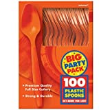 Amscan Big Party Pack 100 Count Mid Weight Plastic Spoons, Orange
