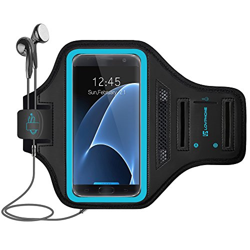 Galaxy S7 Armband - LOVPHONE Easy Fitting Sport Running Exercise Gym Sportband with Key Holder & Card Slot,Water Resistant and Sweat-Proof for Samsung Galaxy S7 2016 Release.-Blue