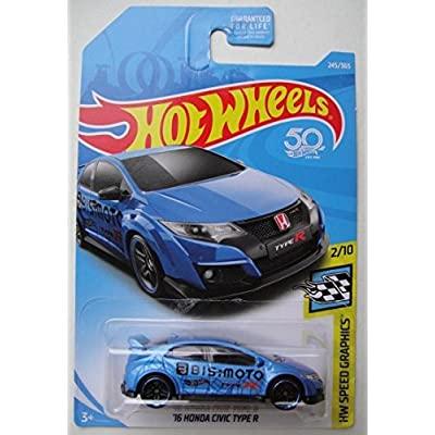 Hot Wheels SPEED GRAPHICS 2/10, BLUE '16 HONDA CIVIC TYPE R 245/365 50TH ANNIVERSARY CARD: Toys & Games