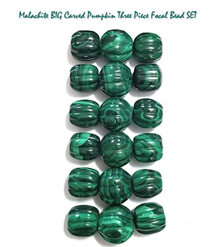 Natural Green Malachite BIG Carved Pumpkin 3 Piece Focal Gemstone Bead SET for Jewelry Making ()