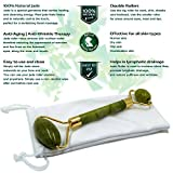 Premium Jade Roller by Elojade Anti Aging Therapy Massager for Face 100% Natural Jade Facial Roller Double Neck Healing Slimming Massager   Includes FREE Pouch and Instruction