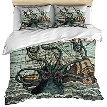 Image of Anzona Luxury Microfiber 3 Piece Bedding Set King Size, Custom Sea Monster Kraken Octopus 3PCS Zippered Duvet Cover Comforter Cover Set with Quilt Cover, Pillow Cases for Kids/Teens/Adults Home and Kitchen