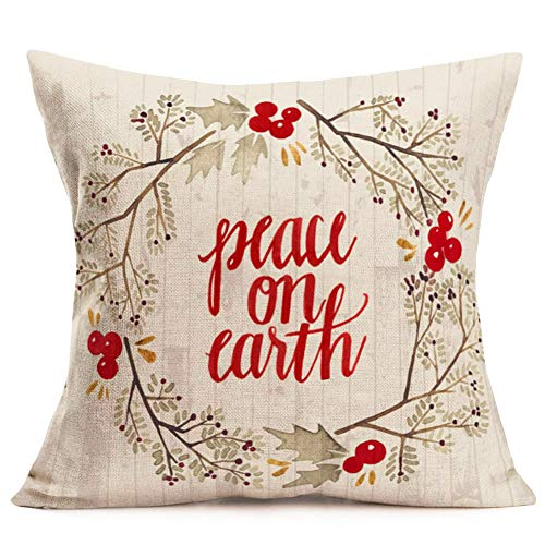 Doitely Christmas Quote Throw Pillow Covers Peace On Earth with Holly Plant Wreath Holiday Couch Pillow Cases Retro Wood Grain Design Home Decor Cotton Linen 18 x 18 Inches (Of Quotes Christmas Best)