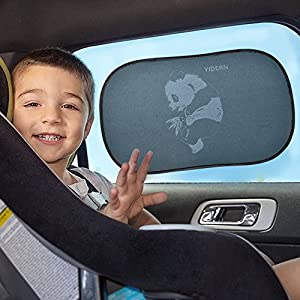 "Car Sun Shade, 2 Pack 20""x12"" foldable Cling Sunshade with 4 Suction Cups, Protect Baby Infant Child, Reduce Harmful UV Rays, Best Universal Auto Accessories for Side Windows"