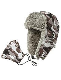 SIGGI 100%Rabbit Fur Trapper Ushanka Russian Hat Nylon Shell Waterproof Unisex