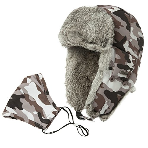 SIGGI Bomber Hat Women Rabbit Fur Trapper Hat for Men Winter Trooper Russian Hat Ushanka Camouflage