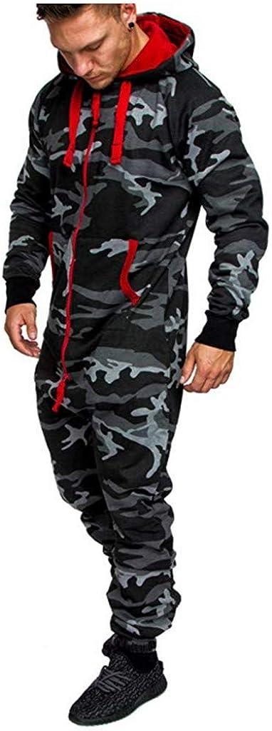 vkjany Men Jumpsuit Autumn Winter Long Sleeve Hooded Playsuit Men Jumpsuit All in One
