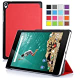Asuxtek ® HTC Nexus 9 8.9 inch 2014 release version tablet Ultra-Thin Multi-angle Stand Slim Smart Cover Case with Auto sleep / wake Fuction [Lifetime warranty], only fit HTC Nexus 9 (For Nexus 9-Red)
