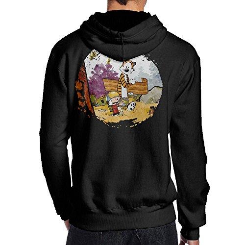TYEJML Calvin And Hobbes Men's Pullover Hooded Sweatshirt M Black (Tennis Player Costumes)